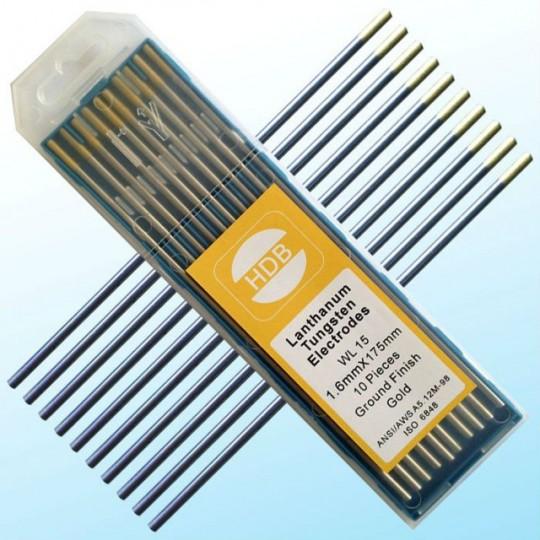 Złota elektroda wolframowa WL15 do TIG 1.6x175mm