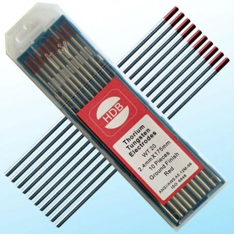Czerwona elektroda wolframowa WT20 do TIG 2.4x175mm