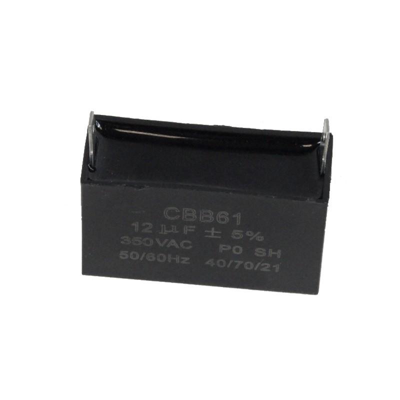 Kondensator rozruchowy do silników 12uF +/- 5%  350Vac przewód CBB61  SILNIK 154F