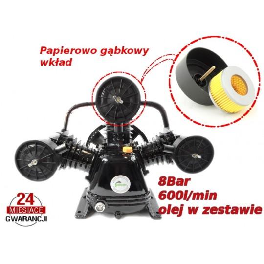Sprężarka - kompresor olejowy 600l/min 3 tłokowy 8 BAR 3065