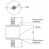 Podpora gumowa, amortyzator zagęszczarka, ubijarka M8x30