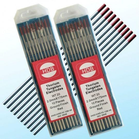Czerwona elektroda wolframowa torowana WT20 2.0x175mm