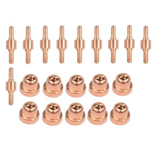 Komplet 10 dysz oraz 10 elektrod do przecinraki plazmowej PT-31 CUT-40 (krótkie)