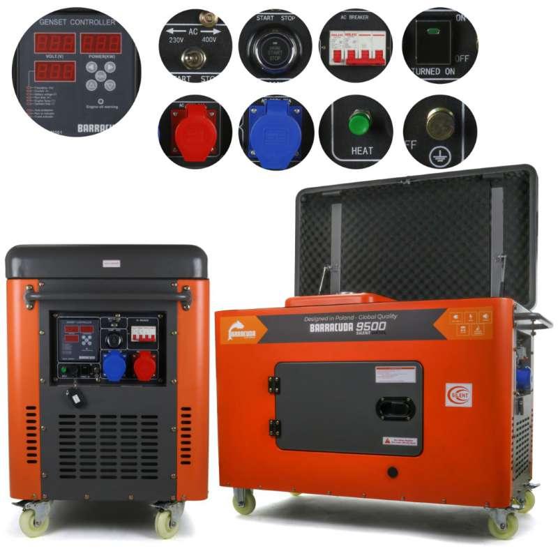 Agregat prądotwórczy 12 kVA 9,5 kW 230/400V Barracuda DIESEL 8000 SUPER SILENT ze wzmocnioną fazą 230V